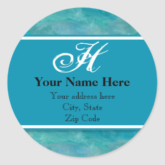 Peacock Blue Business Monogrammed Address Labels Classic Round Sticker