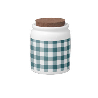 Peacock Blue (Dark Teal or Aqua) and White Gingham Candy Jar