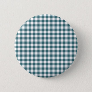 Peacock Blue (Dark Teal or Aqua) and White Gingham Pinback Button