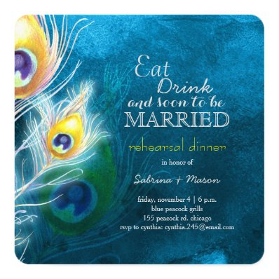 Peacock Blue Elegance Wedding Rehearsal Dinner 5.25x5.25 Square Paper Invitation Card
