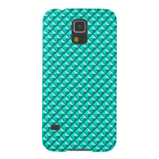 Peacock blue, enamel look, studded grid galaxy s5 cover