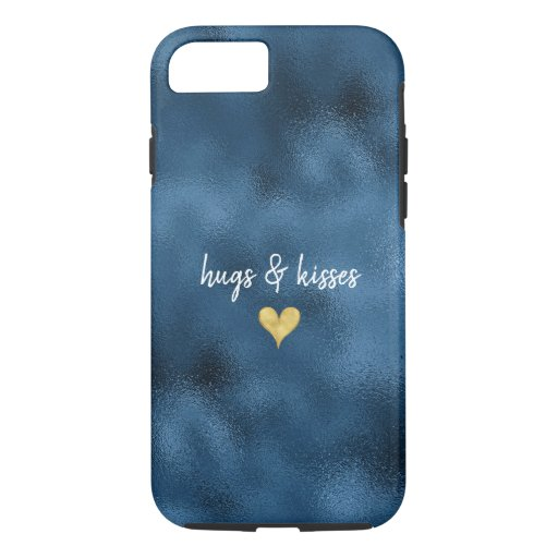 Peacock Blue Glam Gold Heart iPhone 8/7 Case
