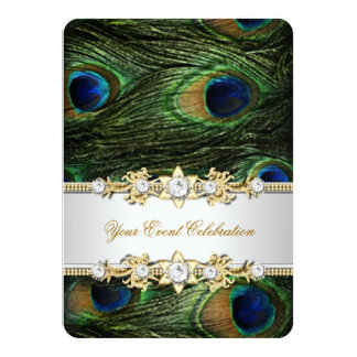 Peacock Blue Green Gold Elegant Party Card