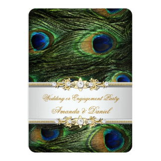 Peacock Blue Green Gold Wedding or Engagement Card