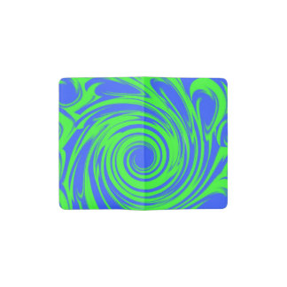 Peacock blue green pattern pocket moleskine notebook cover with notebook