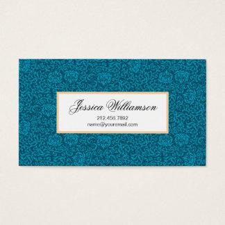 Peacock Blue Green Vintage Damask Business Card