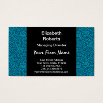 Peacock Blue Green Vintage Damask Business Card