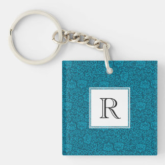 Peacock Blue Green Vintage Damask Keychain