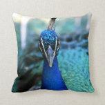 Peacock blue head on image throw pillows