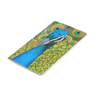 Peacock Blue Head with and Colorful Tail Feathers Journal