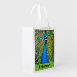 Peacock Blue Head with and Colorful Tail Feathers Reusable Grocery Bag