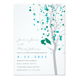 Peacock Blue Love Birds in Tree with Gray Leaves Card
