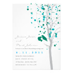 Peacock Blue Love Birds in Tree with Gray Leaves Invitations