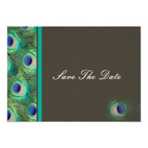 peacock blue mocha  teal Save the date Card