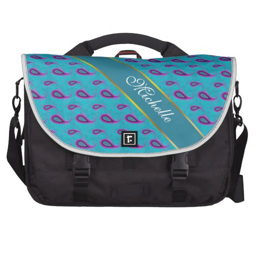 Peacock Blue Paisley Bags For Laptop