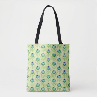 Peacock Blue Pale Green Pattern Tote Bag