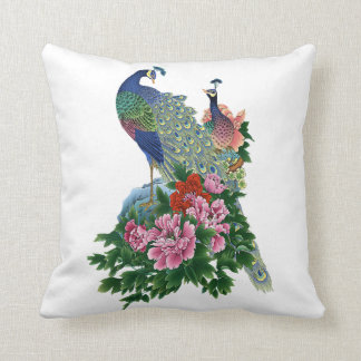 Peacock Blue Pink Roses Green Flowers Floral Bird Throw Pillow