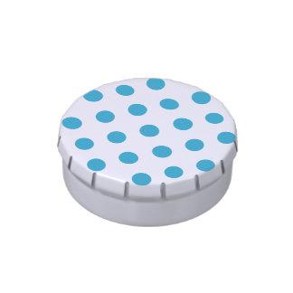 Peacock Blue Polka Dots Circles Candy Tins