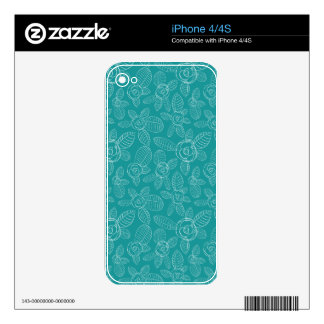 Peacock Blue Roses Decals For iPhone 4