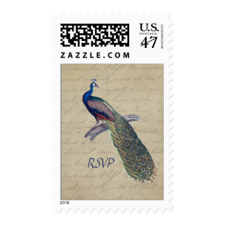 Peacock Blue RSVP on Aged Vintage Calligraphy Postage