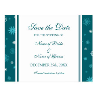 Peacock Blue Save the Date Winter Wedding Postcard