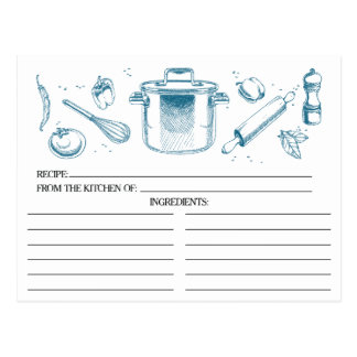 Peacock Blue Sketched Kitchen Tools Recipe Cards