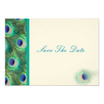 peacock blue  teal Save the date Card