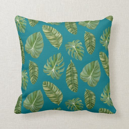 Peacock Blue Tropical Leaves Modern Stylish Art Throw Pillows Zazzle
