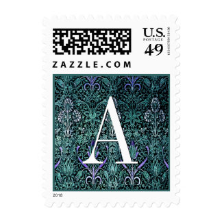 Peacock Blue Vintage Damask Monogram Wedding Stamp