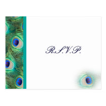 peacock blue  Wedding rsvp card