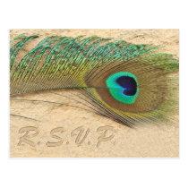 peacock blue  Wedding rsvp card