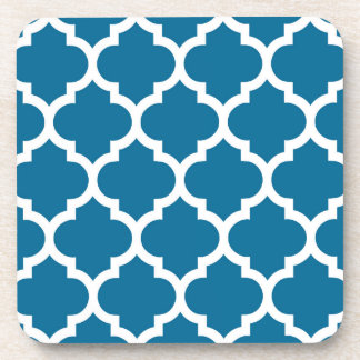 Peacock Blue White Moroccan Quatrefoil Pattern #5 Beverage Coaster