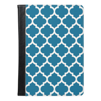 Peacock Blue White Moroccan Quatrefoil Pattern #5 iPad Air Case