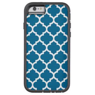 Peacock Blue White Moroccan Quatrefoil Pattern #5 Tough Xtreme iPhone 6 Case