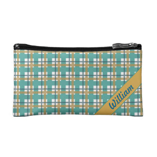 Peacock blue with yellow tartan stripe pattern makeup bag