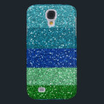 "Peacock Blues Greens Glitter Effect Stripes Galaxy S4 Cover<br><div class=""desc"">Stunning glittery stripes (printed glitter effect not real glitter) in peacock colors of blue and green.</div>"