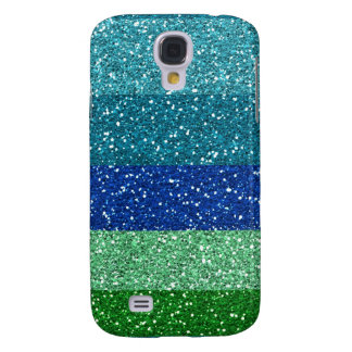 Peacock Blues Greens Glitter Effect Stripes Galaxy S4 Cover