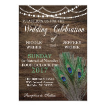 Peacock Boho Country Wood Wedding Invitation