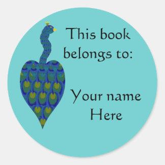 Peacock, Book Plate Classic Round Sticker
