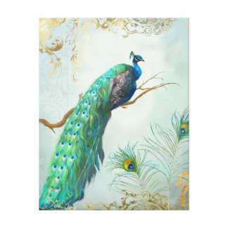 Peacock Branch Full Tail Feathers Gold Leaf Look Canvas Print