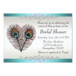 "Peacock Bridal Shower Announcement 5"" X 7"" Invitation Card"