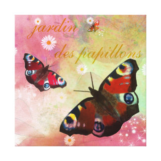 Peacock Butterflies on grunge design with daisies Canvas Prints