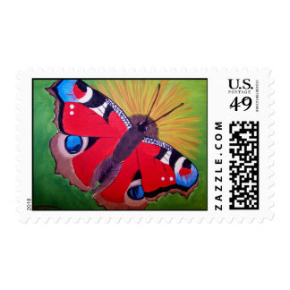 Peacock butterfly acrylic painting postage