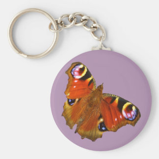 Peacock butterfly basic round button keychain