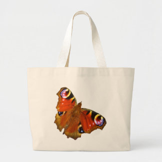 Peacock butterfly large tote bag