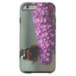 Peacock butterfly on flower tough iPhone 6 case