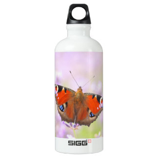peacock butterfly over lavender aluminum water bottle