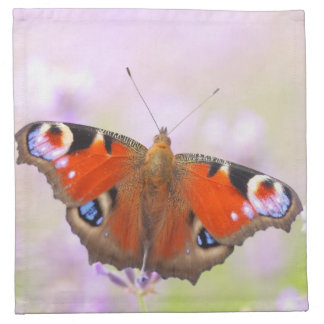 peacock butterfly over lavender cloth napkin