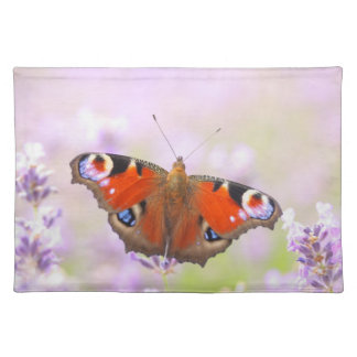 peacock butterfly over lavender cloth placemat