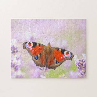 peacock butterfly over lavender jigsaw puzzle